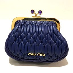 MIUMIU 5M1328 Coin purse purse purse materasse coin case leather purple system × gold hardware ladies