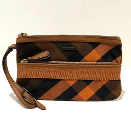 BURBERRY Burberry Pouch Check Pattern Clutch Bag Canvas x Leather Brown x Orange Ladies