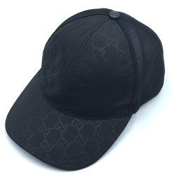 GUCCI グッチ   ベースボール キャップ 男女兼用 カーブ GG タグ有 帽子 ナイロン ブラック ユニセックス