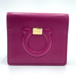 Salvatore Ferragamo Salvatore Ferragamo Bi-fold Pass Case Business Card Holder Periodic Insert Gancini Card Case Leather Purple Ladies