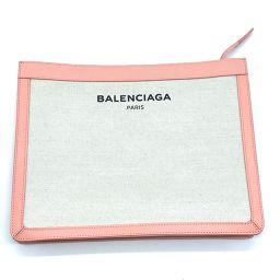 BALENCIAGA バレンシアガ   410119 セカンドバッグ クラシック メンズ レディース  クラッチバッグ キャンバス×レザー ナチュラル×ピンク ユニセックス