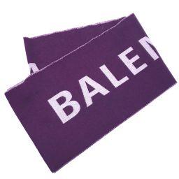 BALENCIAGA バレンシアガ   512732 アパレル マフラー ジャガード ロゴ タグ有り ストール ウール パープル系 ユニセックス