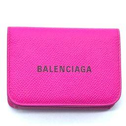 BALENCIAGA バレンシアガ   593813 コンパクトウォレット 財布 キャッシュ ミニ エヴリデイ 三つ折り財布(小銭入れあり) レザー ピンク レディース