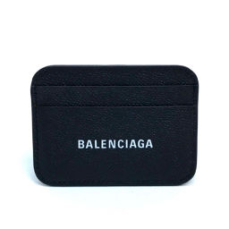 BALENCIAGA Balenciaga 593812 Logo Business Card Holder Periodic Insert Pass Case Cash Card Holder Men Women Card Case Leather Black Unisex