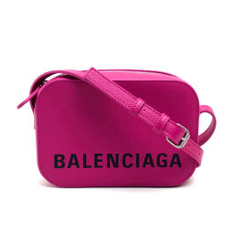 BALENCIAGA Balenciaga 558171 Pochette Logo Ville Camera Bag XS VILLE CAMELA Shoulder Bag Leather Pink Ladies