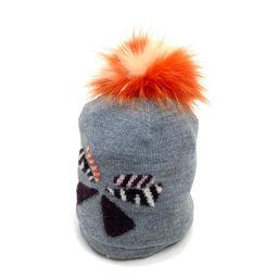FENDI フェンディ   FX0538 メンズ レディース ニット帽 FOX フォクス ファー 帽子 ウール/フォックスファー グレー ユニセックス