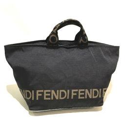 FENDI フェンディ   26488 バンドバッグ ロゴ 手提げバッグ トートバッグ ナイロン ブラック レディース