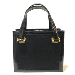 VERSACE Versace Sunburst Tote Handbag Harako / Patent Leather Black x Gold Hardware Ladies