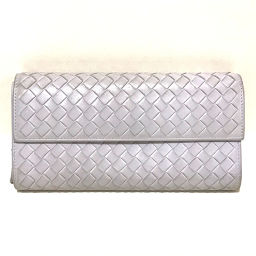 BOTTEGA VENETA 150509 Bi-fold Flap Intrecciato Wallet (with coin purse) Leather Light Blue Ladies