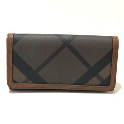BURBERRY Burberry long wallet check pattern bi-fold wallet (with coin purse) PVC × leather brown system men
