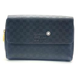 MONTBLANC Montblanc Double Zip Travel Organizer Travel Wallet Long Wallet (no coin purse) Leather Black Men