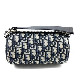 Christian Dior Christian Dior 1SFPO102YKY Oblique Trotter Mini Roller 2WAY Shoulder Bag Canvas / Leather Unisex Gray x Navy Gray x Navy