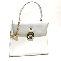 VERSACE Versace Flap Sunburst Charm Handbag Leather White