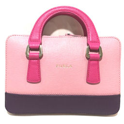 FURLA Furla Eco Bag Gray Storm Folding Logo Tote Bag Leather / Nylon Pink x Purple Ladies