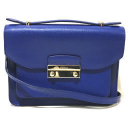 FURLA Furla 2way Handbag Julia Shoulder Bag Leather Blue (BLU LAGUNA) Blue Ladies