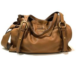 MIUMIU Miu Miu RR1312 Shoulder Bag Side Ribbon Tote Bag Leather Brown Ladies