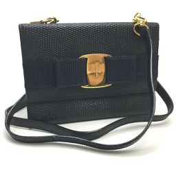 Salvatore Ferragamo 22-5619 Tri-fold wallet pochette pouch Vala ribbon embossed leather Tri-fold wallet (with coin purse) Leather Navy / gold metal fittings Women's