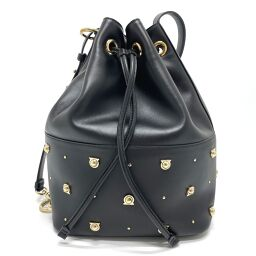 Salvatore Ferragamo Salvatore Ferragamo 21H294 Gancio Studs Drawstring Shoulder Bag Diagonal Shoulder Bag Leather Women's Black