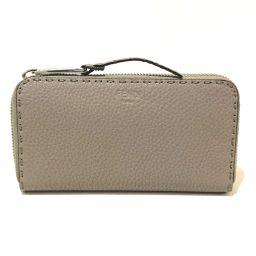 FENDI Fendi 8M0374 Celeria Round zipper Long wallet (with coin purse) Leather Beige Ladies
