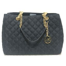 Michael Kors Michael Kors Chain Shoulder Quilted Denim Canvas Shoulder Bag Denim / Canvas Denim Blue Ladies