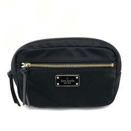 Kate Spade Kate Spade Shoulder Bag Pouch Hip Bag Waist Bag Logo Plate Body Bag Canvas x Leather Black Ladies