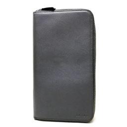 PRADA プラダ   2M1303  ラウンドファスナー長財布 サフィアーノ Wファスナー トラベルケース 長財布(小銭入れあり) レザー/ グレー メンズ