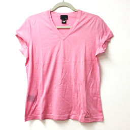 FENDI フェンディ   トップス Vカット ロゴ 半袖Tシャツ コットン ピンク メンズ