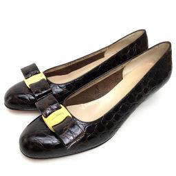 Salvatore Ferragamo サルヴァトーレフェラガモ   ヒール 靴 ヴァラ リボン パンプス//型押しレザー ブラウン レディース