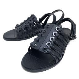 GIVENCHY Givenchy Shoes Shoes Petanco Flat Sandals Leather / Black Ladies