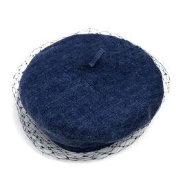 Christian Dior クリスチャンディオール   チュール  ベレー帽 帽子 デニム/ ブルー レディース