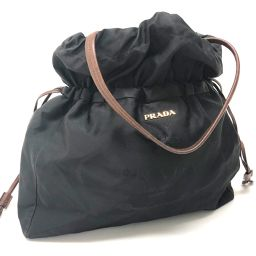 PRADA プラダ   BN1757 トートバッグ 巾着バッグ ロゴジャガード  ショルダーバッグ ナイロン×レザー/ ブラック レディース