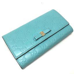 GUCCI グッチ   388679 2つ折り長財布 リボンモチーフ   長財布(小銭入れあり) レザー/ ライトブルー レディース