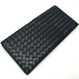 BOTTEGA VENETA ボッテガヴェネタ   二つ折り札入れ イントレチャート 長財布(小銭入れなし) レザー/ ブラック メンズ