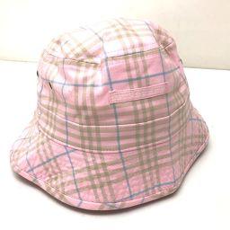 BURBERRY バーバリー   ハット帽子 チェック柄 帽子 キャンバス ピンク系 レディース