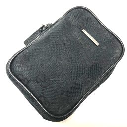 GUCCI グッチ   115249 タバコケース ポーチ GGキャンバス シガレットケース キャンバス×レザー/ ブラック レディース