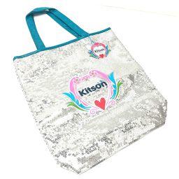 kitson キットソン   トートバッグ ロゴ ショルダーバッグ スパンコール/パテントレザー シルバー レディース