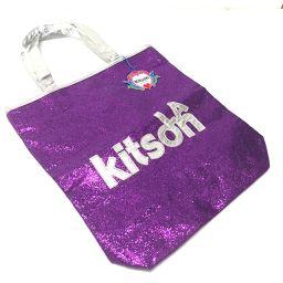 kitson キットソン   トートバッグ ロゴ ショルダーバッグ スパンコール/パテントレザー パープル レディース