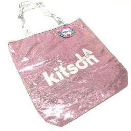 kitson キットソン   トートバッグ ロゴ ショルダーバッグ スパンコール/レザー ピンク