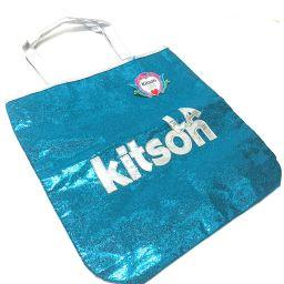 kitson キットソン   トートバッグ ロゴ ショルダーバッグ スパンコール/パテントレザー ブルー レディース