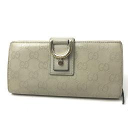 GUCCI グッチ   154256 二つ折り長財布  メンズ レディース シマライン  長財布(小銭入れあり) レザー/ アイボリー系 レディース