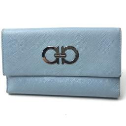 Salvatore Ferragamo サルヴァトーレフェラガモ   ガンチーニ 二つ折り財布(小銭入れあり) レザー/ ライトブルー レディース