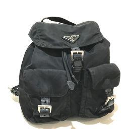 PRADA プラダ   バックパック ロゴプレート Wポケット リュック・デイパック ナイロン×レザー ブラック レディース