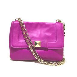 Kate Spade Kate Spade PXRU4217 F095 Chain Bag Justin Ribbon Motif Shoulder Bag Leather Purple Ladies