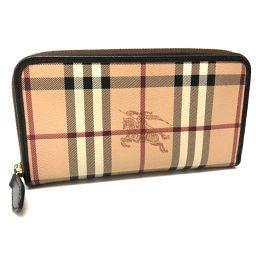 BURBERRY バーバリー   3855847  ラウンドファスナー財布 クラシックチェック  長財布(小銭入れあり) PVC×レザー ベージュ レディース