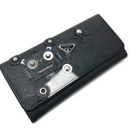 PRADA プラダ   1MH132 2つ折り長財布 ロボット サフィアーノ  長財布(小銭入れあり) レザー/ ブラック レディース