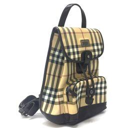 BURBERRY バーバリー   リュックサック バッグ 鞄 ノバチェック リュック・デイパック PVCxレザー/ ベージュ レディース