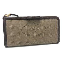 PRADA プラダ   1ML183 L字型ファスナー長財布 ロゴジャガード 長財布(小銭入れあり) キャンバス×レザー/ ベージュ レディース