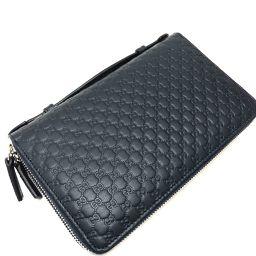 GUCCI グッチ   449246 ハンドバッグ トラベルケース  財布 マイクログッチシマ セカンドバッグ レザー/ ネイビー メンズ