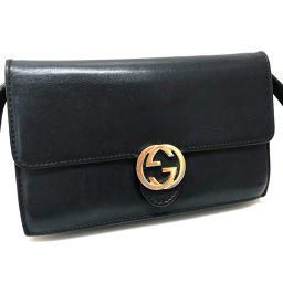 GUCCI グッチ   369664 ポシェット ポーチ 財布バッグ インターロッキングG ショルダーバッグ レザー/ ブラック レディース