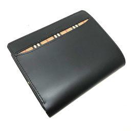 BURBERRY バーバリー   チェック柄 がま口 二つ折り財布(小銭入れあり) レザー/ ブラック レディース